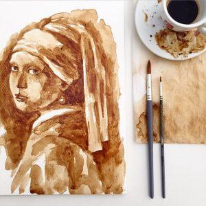 kahve ile çizilmiş resim
